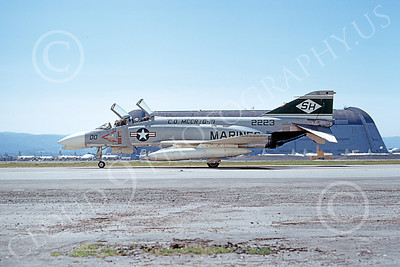 F-4USMC 00311 A taxing McDonnell Douglas F-4J Phantom II USMC 152223 VMFAT-101 SH SHARPSHOOTERS commanding officer's NAS Moffett 4-1973 military airplane picture by Michael Grove, Sr