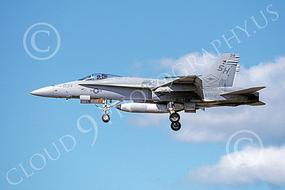 F-18USMC 00124 A landing McDonnell Douglas F-18 Hornet USMC VMFAT-101 SHARPSHOOTERS 4-1999 military airplane picture by Michael Grove, Sr