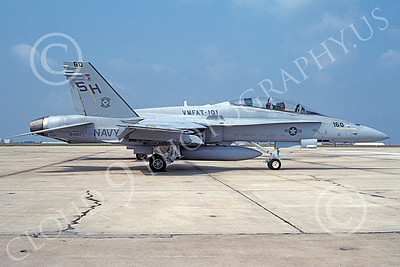 F-18USMC 00015 A static McDonnell Douglas F-18D Hornet USMC VMFAT-101 SHARPSHOOTERS NAF Washington 9-1991 military airplane picture by Gene Castagnola