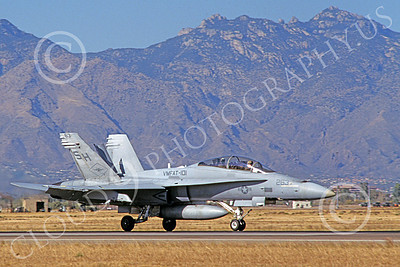 F-18USMC 00065 A taxing McDonnell Douglas F-18D Hornet USMC VMFAT-101 SHARPSHOOTERS 5-1999 military airplane picture by Michael Grove, Sr