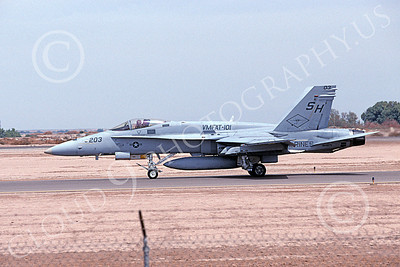 F-18USMC 00063 A taxing McDonnell Douglas F-18 Hornet USMC 164975 VMFAT-101 SHARPSHOOTERS NAF El Centro 4-2002 military airplane picture by Michael Grove, Sr