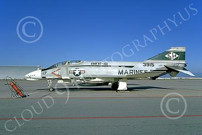 F-4USMC 00149 A static McDonnell Douglas F-4J Phantom II USMC 153915 VMFAT-101 SH SHARPSHOOTERS NAS Moffett 3-1974 military airplane picture by Michael Grove, Sr