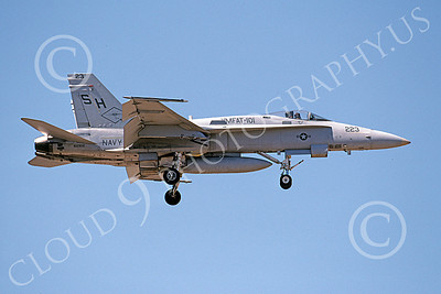 F-18USMC 00034 A landing McDonnell Douglas F-18C Hornet USMC 162902 VMFAT-101 SHARPSHOOTERS 4-2002 military airplane picture by Michael Grove, Sr