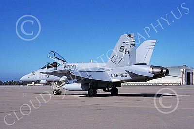F-18USMC 00067 A static McDonnell Douglas F-18 Hornet USMC VMFAT-101 SHARPSHOOTERS NAS Moffett 3-2000 military airplane picture by Tom Chee
