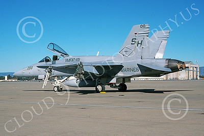 F-18USMC 00073 A static McDonnell Douglas F-18C Hornet USMC 165408 VMFAT-101 SHARPSHOOTERS commanding officer's plane NAS Moffett 1-2001 airplane picture by Tom Chee