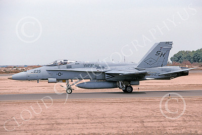 F-18USMC 00079 A taxing McDonnell Douglas F-18C Hornet USMC 163509 VMFAT-101 SHARPSHOOTERS NAF El Centro 4-2002 military airplane picture by Michael Grove, Sr