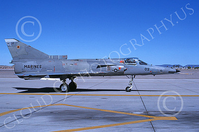 F-21-USMC 00007 A taxing Israeli Aircraft F-21 Kfir jet fighter USMC 999734 VMFT-401 SNIPERS MCAS Yuma 3-1988 military airplane picture by Charles R Stewart