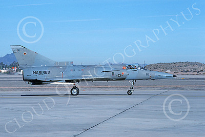 F-21-USMC 00023 A taxing Israeli Aircraft F-21 Kfir jet fighter USMC 999750 VMFT-401 SNIPERS MCAS Yuma 2-1989 military airplane picture by Mick Roth