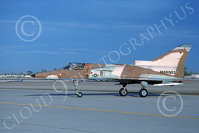F-21-USMC 00017 A taxing Israeli Aircraft F-21 Kfir jet fighter USMC 999731 VMFT-401 SNIPERS MCAS Yuma 2-1989 military airplane picture by Michael Grove, Sr