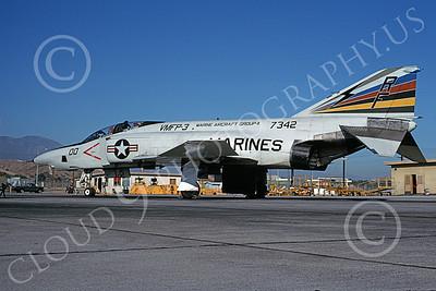 F-4USMC 00295 A static McDonnell Douglas RF-4B Phantom II USMC 7342 VMFP-3 EYES OF THE CORPS commanding officer's RF MCAS El Toro 7-1990 military airplane picture by Michael Grove, Sr