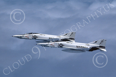 F-4USMC 00264 Two flying McDonnell Douglas RF-4B Phantom IIs USMC 157346 VMFP-3 EYES OF THE CORPS RF 7-1990 military airplane picture by Robert L Lawson