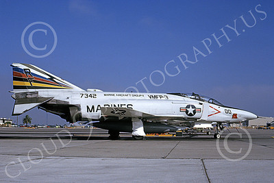 F-4USMC 00181 A static McDonnell Douglas RF-4B Phantom II USMC 7342 VMFP-3 EYES OF THE CORPS commanding officer's RF MCAS El Toro 7-1990 military airplane picture by Michael Grove, Sr