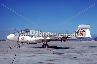 EA-6A-USMC-VMCJ-3 0002 A static USMC Grumman EA-6A Electric Intruder, 151599, VMCJ-3 MOON DOGS, NAS Alameda 3-1973, military airplane picture by Michael Grove, Sr     Dt