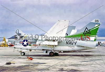 A-7USN-VA-305 001 A static Vought A-7A Corsair II, USN carrier based attack jet, 154355, VA-305 LOBOS, 9-1977, NAS Pt Mugu, military airplane picture by Stephen W  D  Wolf    DDD_4759     Dt