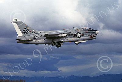 A-7USN 00128 A flying Vought A-7A Corsair II USN 153268 VA-305 LOBOS commanding officer's NAS Fallon 3-1978 military airplane picture by Michael Grove, Sr