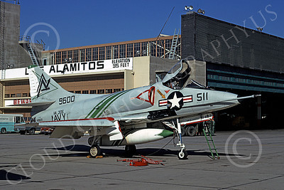 A-4USN 00276 A static USN Douglas A-4 Skyhawk, 149600, attack jet, VA-305, NAS Los Alamitos 12-1970, military airplane picture, by Michael Grove, Sr