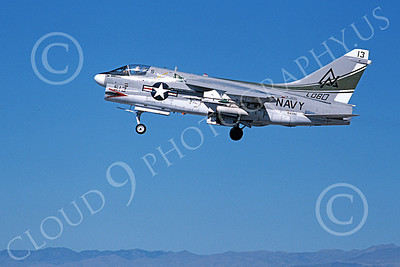 A-7USN 00160 A landing Vought A-7B Corsair II USN 154390 VA-305 LOBOS NAS Fallon 11-1979 military airplane picture by Michael Grove, Sr