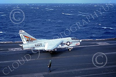 A-7USN 00129 A Vought A-7E Corsair II USN 157553 VA-105 GUNSLINGERS commanding officer's taxis  on USS Saratoga 10-1977 military airplane picture by Paul Marsh
