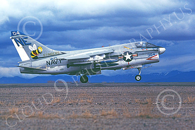A-7USN 00104 A landing Vought A-7E Corsair II USN 158661 VA-113 STINGERS USS Ranger with bombs NAS Fallon 5-1980 military airplane picture by Michael Grove, Sr