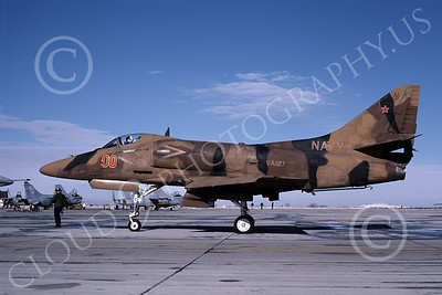 A-4USN 00080 A USN Douglas A-4 Skyhawk attack jet, 154190, VA-127 BATMEN, NAS Fallon 11-1985, airplane picture, by Michael Grove, Sr