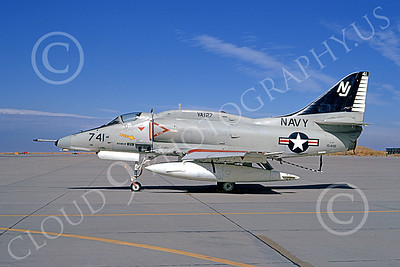 A-4USN 00045 A static Douglas A-4F Skyhawk USN 154181 VA-127 BATMEN NAS Leemore 11-1973 military airplane picture by Michael Grove, Sr