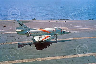 A-4USN 00427 A Douglas A-4E Skyhawk USN VA-144 ROADRUNNERS on USS Kitty Hawk 4-1963 by Clay Janson 2x3