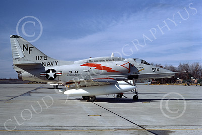 A-4USN 00064 A USN Douglas A-4F Skyhawk attack jet, 151176, VA-144 ROAD RUNNERS, USS Bon Homme Richard, NAF Andrews 12-1968, airplane picture, by Clay Janson