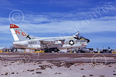 A-7USN 00105 A taxing Vought A-7E Corsair II USN 159649 VA-145 SWORDSMEN USS Consetellation City of Olongapo NAS Fallon 5-1976 military airplane picture by Michael Grove, Sr