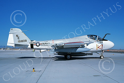 KA-6DUSN 00087 A taxing Gruman KA-6D Intruder USN 151809 VA-145 SWORDSMEN USS Ranger NAS Fallon 2-1986 military airplane picture by Michael Grove, Sr