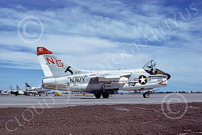 A-7USN 00103 A taxing Vought A-7E Corsair II USN 156838 VA-145 SWORDSMEN USS Consetellation City of Clovis NAS Fallon 5-1978 military airplane picture by Michael Grove, Sr