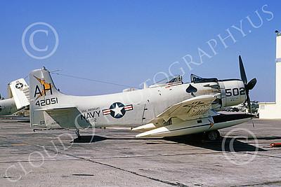 A-1USN 00027 Douglas A-1J Skyraider USN 142051 VA-152 WILD ACES USS Oriskany NAS Alameda 16 Oct 1964, by William L Swisher