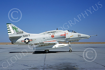 A-4USN 00214 A static Douglas A-4F Skyhawk attack jet US Navy 155058 VA-155 SILVER FOXES USS Ranger NAS Lemoore 10-1968 military airplane picture by Doug Olson