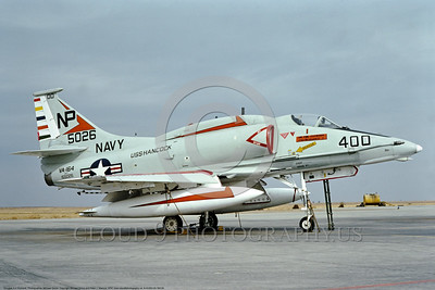 A-4USN-VA-164 0004 A static Douglas A-4F USN attack jet 155026 VA-164 GHOST RIDERS commander's airplane USS Hancock NAS Lemoore 7-1974 military airplane picture by Michael Grove