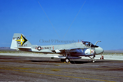 A-6-USN-VA-165 002 A static Grumman A-6E Intruder, USN 159317, carrier based long range all weather bomber, VA-165 BOOMERS, 4-1975 Nellis AFB, military airplane picture by Stephen W  D  Wolf  DDD_5019  Dt