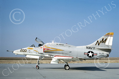 A-4USN 00114 A USN Douglas A-4 Skyhawk attack jet, 154998, VA-192 GOLDEN DRAGONS USS Oriskany commander's plane, NAS Lemoore 11-1968, airplane picture, by Duane A Kasulka