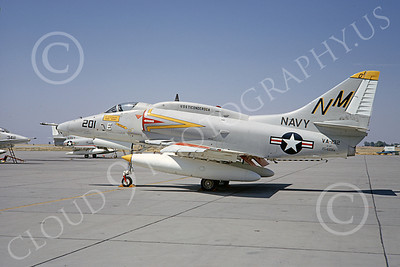 A-4USN 00016 A US Navy Douglas A-4F Skyhawk attack jet, 154181, VA-192 GOLDEN DRAGONS, USS Ticonderoga, NAS Lemoore 9-1967, military airplane picture, by Clay Janson