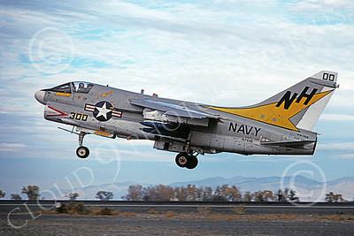 A-7USN 00156 A landing Vought A-7E Corsair II USN 157546 VA-192 GOLDEN DRAGONS commanding officer's USS America NAS Fallon 11-1978 military airplane picture by Michael Grove, Sr