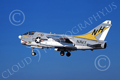 A-7USN 00158 A landing Vought A-7 Corsair II USN 157497 VA-192 GOLDEN DRAGONS USS America 11-1978 military airplane picture by Michael Grove, Sr