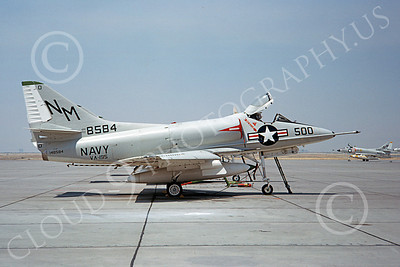 A-4USN 00112 A USN Douglas A-4 Skyhawk attack jet, 148584, VA-195 DAM BUSTERS, NAS Lemoore 8-1963, airplane picture, by Doug Olson