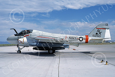 KA-6DUSN 00081 A taxing Gruman KA-6D Intruder USN 152921 VA-196 MAIN BATTERY USS Constellation NAS Fallon 6-1986 military airplane picture by Michael Grove, Sr