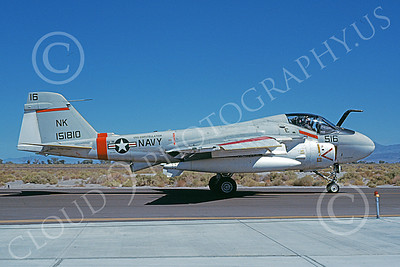 KA-6DUSN 00023 A taxing Gruman KA-6D Intruder USN 151810 VA-196 MAIN BATTERY USS Constellation NAS Fallon 9-1984 military airplane picture by Michael Grove, Sr