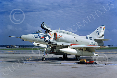 A-4USN 00258 A static USN Douglas A-4L Skyhawk, 148307, attack jet, VA-203 BLUE DOLPHINS, NAS Jax 7-1971, military airplane picture, by L B Sides