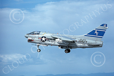 A-7USN 00132 A landing Vought A-7B Corsair II USN 154396 VA-203 BLUE DOLPHINS NAS Fallon 6-1980 military airplane picture by Michael Grove, Sr