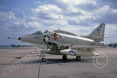 A-4USN 00247 A static USN Douglas A-4L Skyhawk, 147825, attack jet, VA-203 BLUE DOLPHINS, NAS Jax 11-1971, military airplane picture, by L B Sides