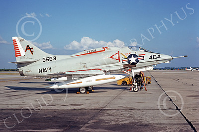A-4USN 00116 A USN Douglas A-4L Skyhawk attack jet, 149583 VA-204 RIVER RATTLERS 26 Oct 1975, airplane picture, by L B Sides