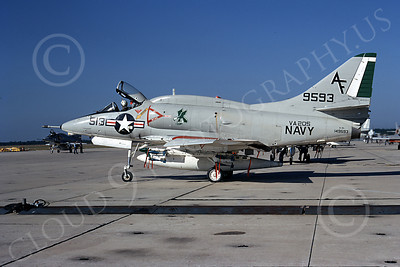 A-4USN 00219 A static USN Douglas A-4L Skyhawk, 149593, attack jet, VA-205 GREEN FALCONS, 22 Oct 1972, military airplane picture, by L B Sides