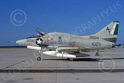 A-4USN 00220 A static USN Douglas A-4L Skyhawk, 149604, attack jet, VA-205 GREEN FALCONS, 22 Oct 1972, military airplane picture, by L B Sides
