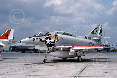 A-4USN 00230 A static USN Douglas A-4L Skyhawk, 148588, attack jet, VA-205 GREEN FALCONS, NAS Atlanta 22 July 1975, military airplane picture, by Ray Leader