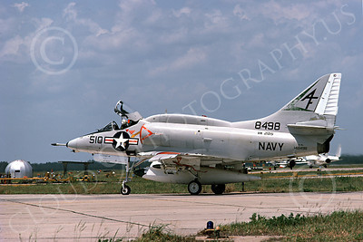 A-4USN 00228 A taxing USN Douglas A-4L Skyhawk, 148948, attack jet, VA-205 GREEN FALCONS, 30 May 1974, military airplane picture, by L B Sides