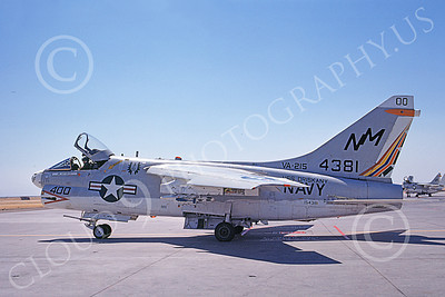 A-7USN 00163 A taxing Vought A-7C Corsair II USN 154381 VA-215 BARN OWLS commanding officer's USS Oriskany NAS Lemoore 9-1974 military airplane picture by Michael Grove, Sr